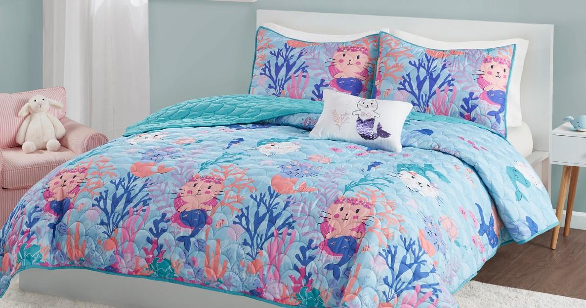 Blue Purrmaid 3-Piece Bedspread Set