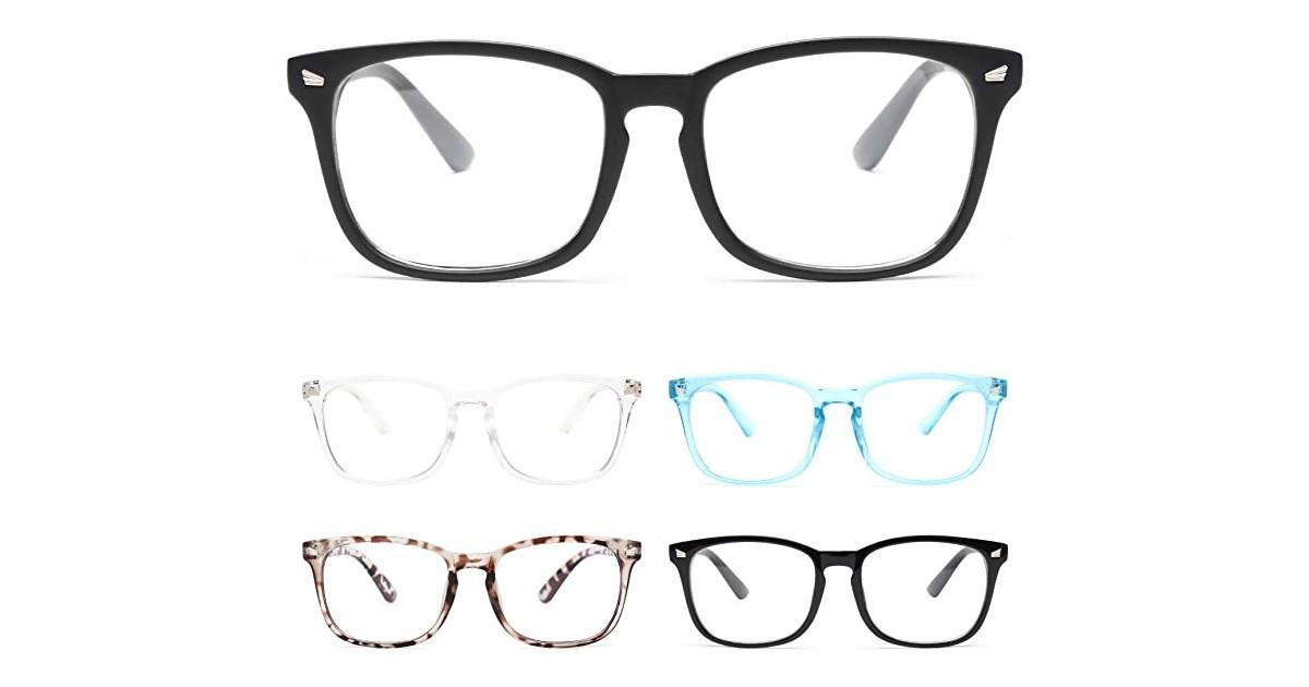 Blue Light Blocking Glasses 5-Pack ONLY $7.50