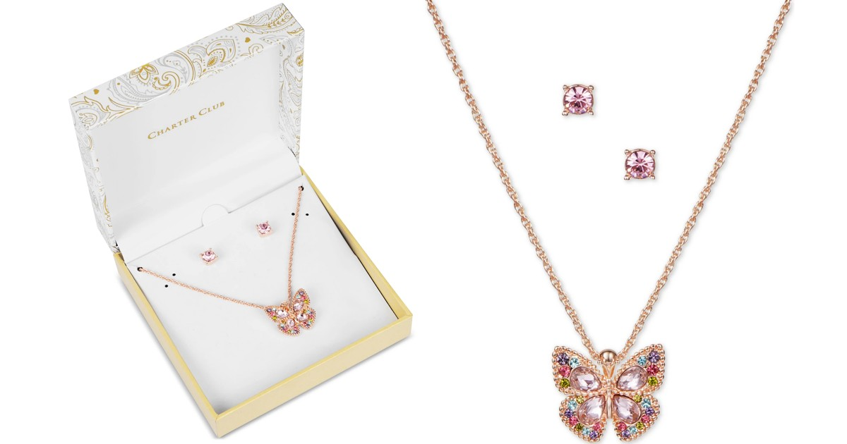 Butterfly Pendent Necklace & Earrings Set
