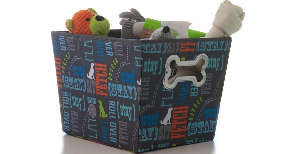 Paw Prints Fabric Pet Toys Bin