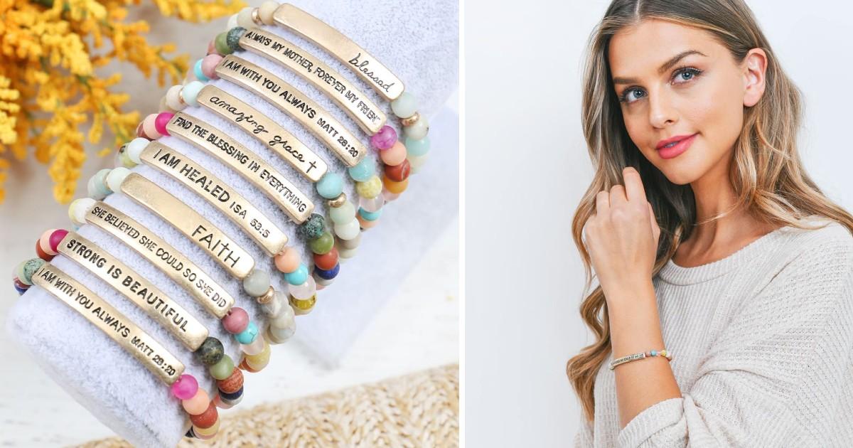 Multicolor Inspirational Message Bracelet