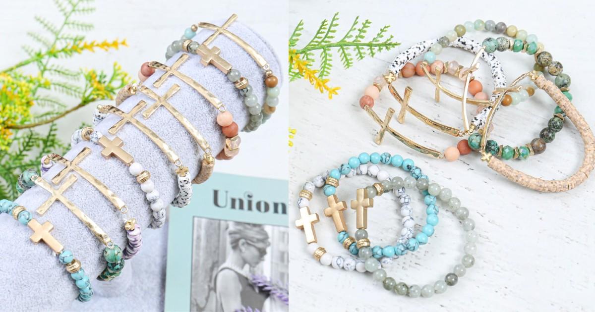 Cross Stone Pendant Bracelets