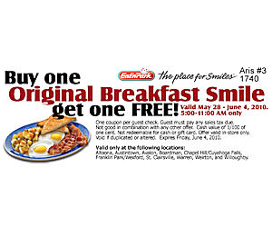 picture about Eat N Park Printable Coupons identify Eatn Park - Coupon For Absolutely free Initial Breakfast With