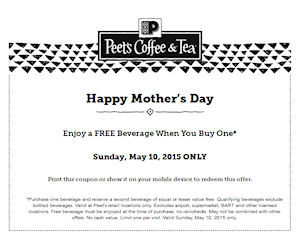 graphic relating to Peet Coffee Printable Coupon named Peets Espresso Tea - BOGO No cost Beverage upon Moms Working day