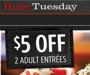 photo about Ruby Tuesday Printable Coupons titled Ruby Tuesday - Coupon for $5 off 2 Grownup Entrees
