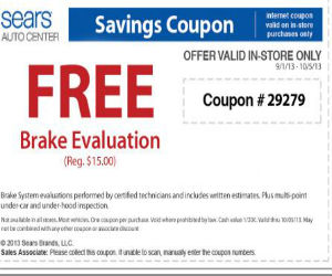 image relating to Sears Coupons Printable named Sears Car or truck Centre - Coupon for a No cost Brake Assessment