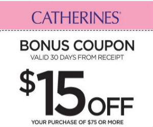 image about Catherines Printable Coupons identified as Catherines - Coupon for $15 off $75 Acquire - Printable Discount codes