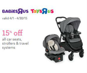 picture relating to Printable Babies R Us Coupons named Toddlers R Us - Coupon for 15% off Strollers and Auto Seats