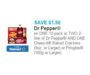 photo about Pringles Printable Coupons known as Dr. Pepper Pringles - $1.50 Off Coupon + Walmart Bundle