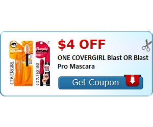 photo relating to Covergirl Printable Coupons named Covergirl - $4 Off Blast Mascara Coupon, Shell out $1.99 at CVS
