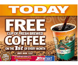 FREE Coffee at Xtra Mart on th...