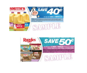 photo relating to Smiths Coupons Printable named Smiths Dairy - 40¢ Off Milk 50¢ Off Ruggles Ice Product