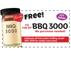 Penzeys Spices - Free Jar of BBQ 3000 Coupon! - Free Product