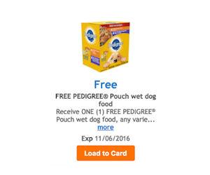 Free pedigree dog food coupons