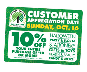 graphic about Dollar Tree Printable Application named Uncommon 10% off Your Get of $10 or Further at Greenback Tree