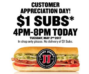 graphic relating to Jimmy Johns Printable Coupons titled Jimmy Johns $1.00 Subs At present Simply 4-8pm - Printable Discount coupons