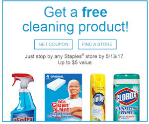 free cleaning product for staples rewards members check email